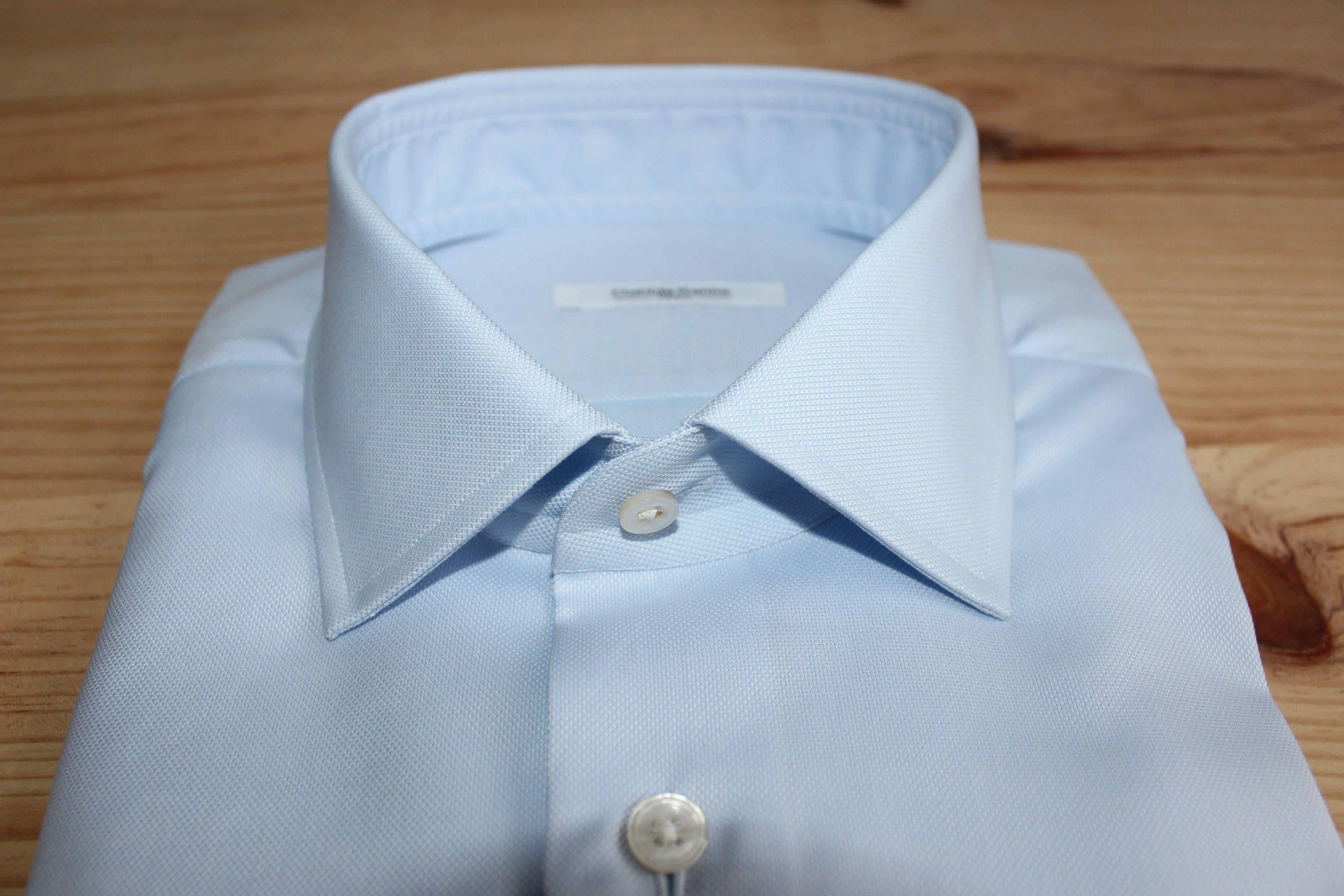 chemise bleue non iron sur mesure , chemise bleue non iron