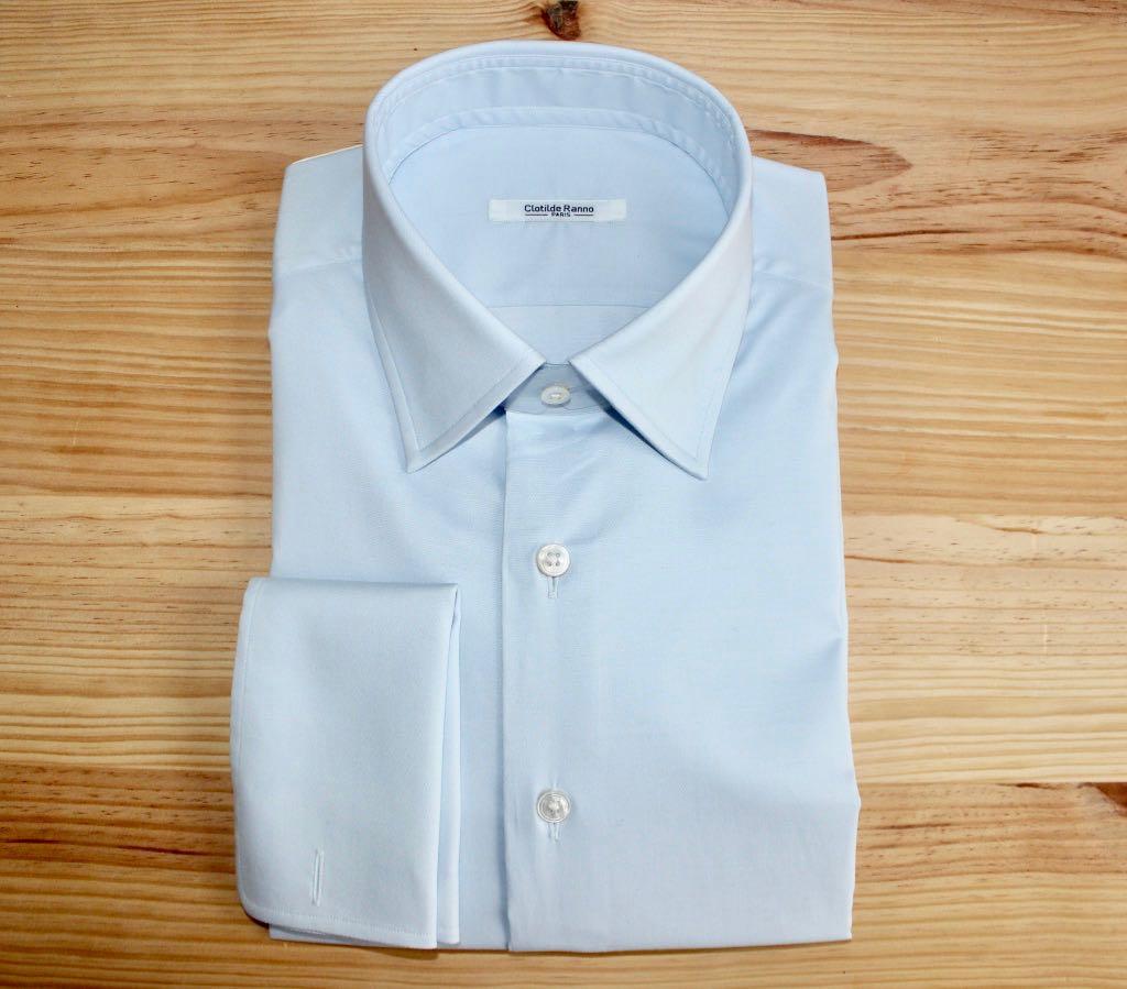 chemise sur mesure bleue , chemise bleue