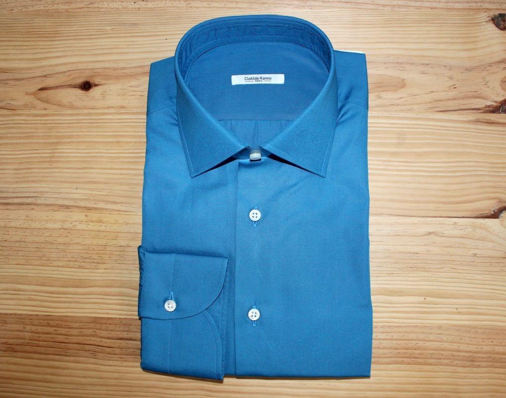 chemise unie bleue sur mesure , chemise unie bleue