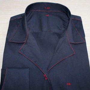 chemise noire stretch , chemise femme, chemise noire, chemise stretch, chemise col tailleur, chemise poignet butterfly, chemise bas liquette, chemise sans gorge