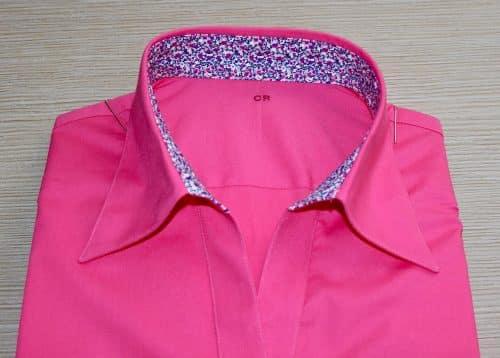 chemise sur mesure stretch , chemise coton, chemise femme, chemise Liberty, chemise manches courtes, chemise rose, chemise stretch, chemise bas liquette, chemise simple retors