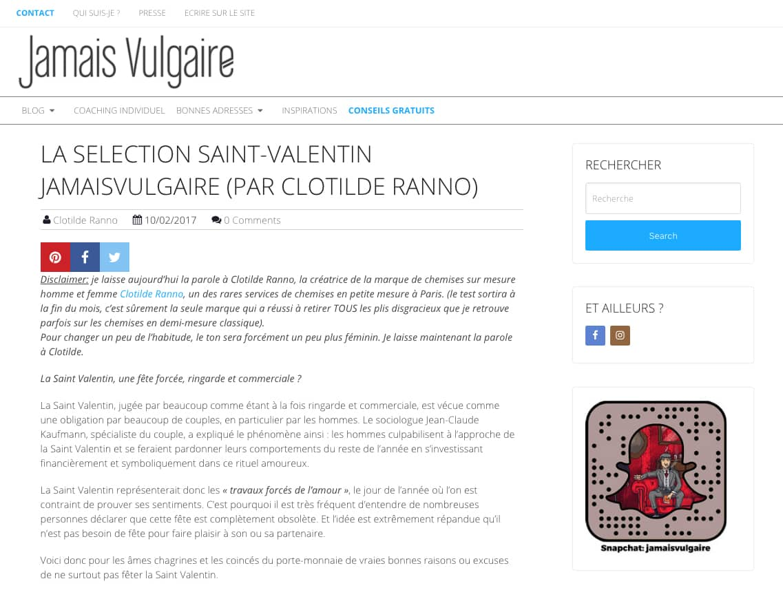 blog homme, conseils cadeau, Jamais Vulgaire, Valéry Khong, Clotilde Ranno, chemise sur mesure, sélection cadeau, cadeau homme, mode masculine, blog mode masculine