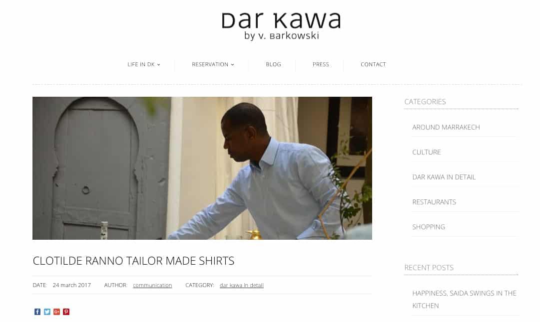 Dar Kawa, Riad Marrakech, Valérie Barkowski, riad darkawa, chemise sur mesure, chemise luxe, chemise homme, chemise fantaisie, chemise à fleurs, chemise fleurie, chemise blanche, poignets mousquetaires, clotilde Ranno, chemise blanche, chemise homme blanche