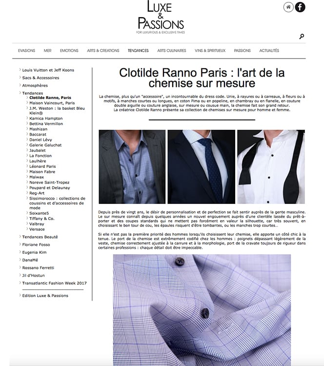 luxe & passions, luxe&passions, clotilde ranno, magazine luxe, chemise sur mesure, chemise luxe, chemise cousue main