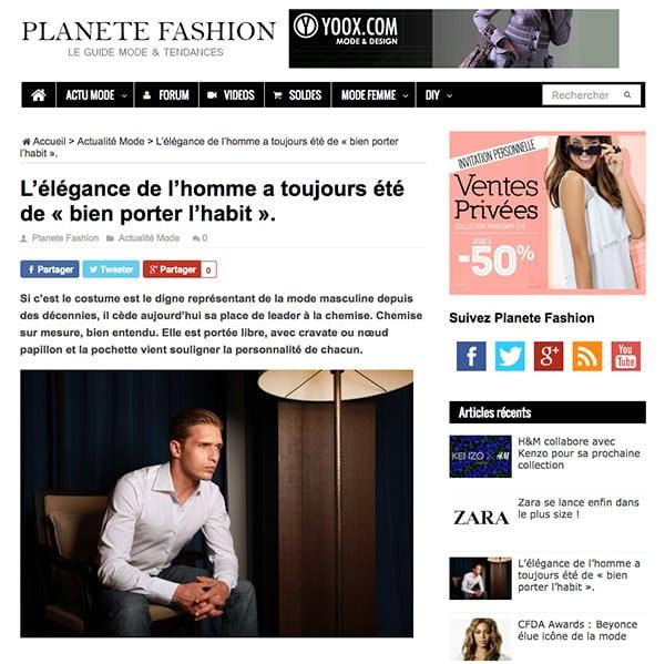 Planète Fashion, blog mode, mode homme, chemise sur mesure, chemise luxe, clotilde ranno, retombée presse