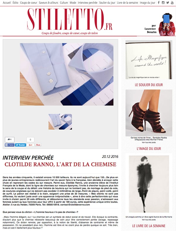 Stiletto, blog mode, blog luxe, magazine luxe, chemise sur mesure, clotilde ranno, retombée presse