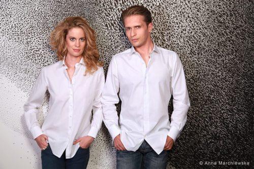 chemise mixte unie , chemise unisexe