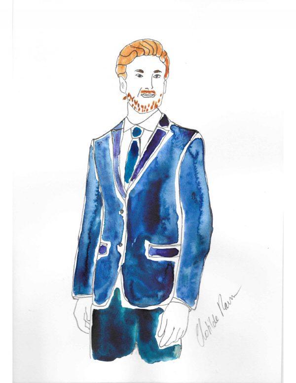 basiques garde-robe masculine, blazer sur mesure , blazer bleu sur mesure , blazer