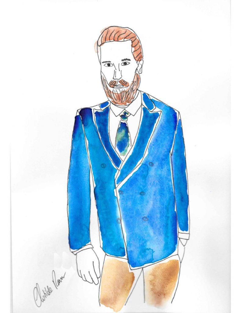 blazer sur mesure , blazer bleu sur mesure , blazer