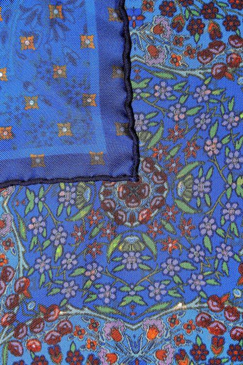 motif pochette de costume bleue à fleurs Calabrese 1924
