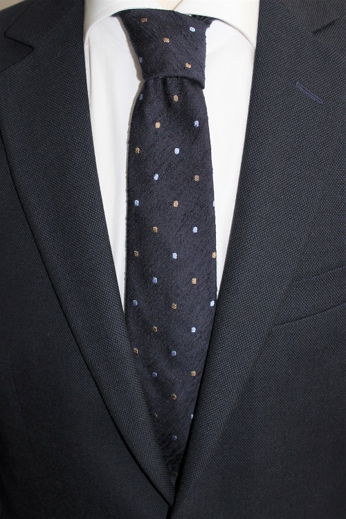 cravate Calabrese, en soie, bleu marine, détails pois