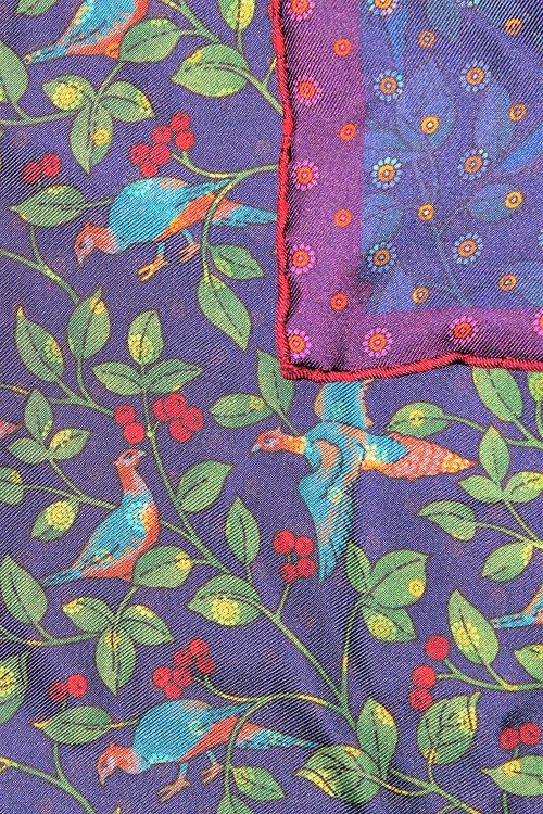motif poétique imprimé à motifs, en soie, pochette de costume, Calabrese 1924