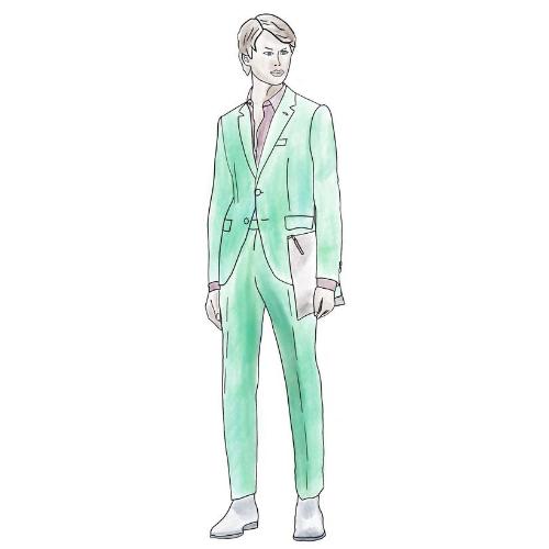 costume sur mesure, costume sur mesure en lin vert, costume vert, costume lin vert, costume vert lin, costume été, costume homme, clotilde ranno, atelier clotilde ranno, costume sur mesure paris
