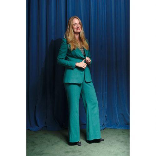 tailleur vert, tailleur femme, tailleur sur mesure, mode durable